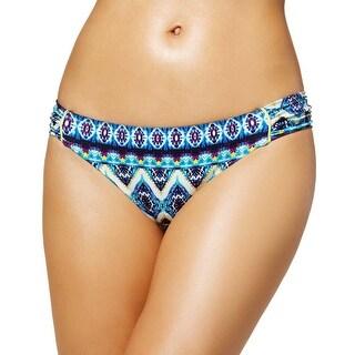 Jessica Simpson Womens Side Shirred Hipster Bikini Bottom, Marine Blue XL Ladies