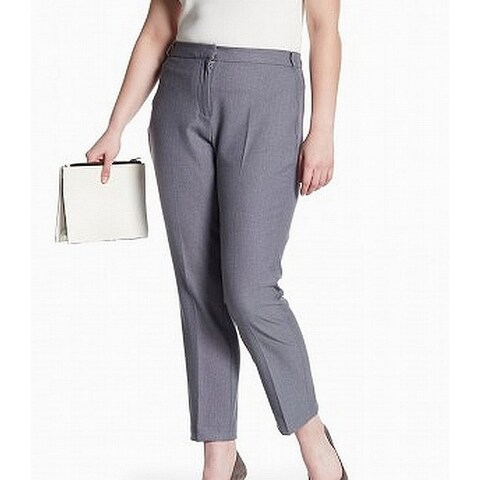 Amanda + Chelsea Gray Womens Size 14W Plus Slim Leg Dress Pants