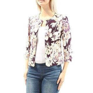Womens Purple Floral 3/4 Sleeve Open Casual Top Size 4