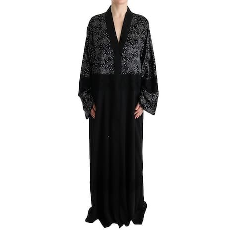 Dolce & Gabbana Black White Floral Silk Kaftan Women's Dress - it40-s