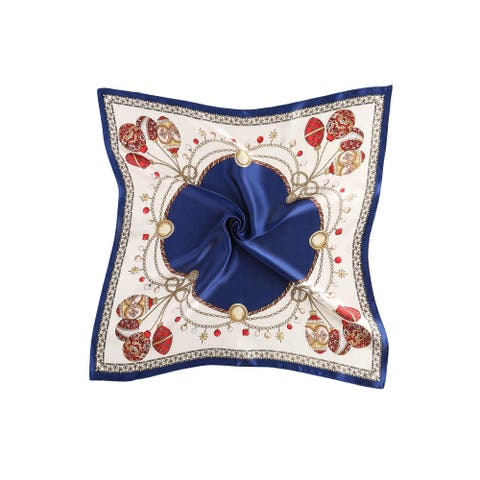 Women Fashionable Print 100% Silk Square Scarf - Navy Festival