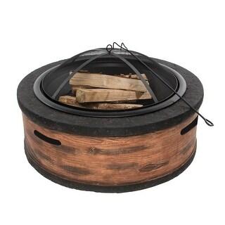 Sun Joe SJFP28-STN-RW Fire Joe 28-Inch Rustic Wood Fire Pit - rustic wood