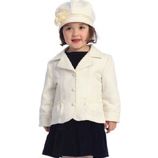 Angels Garment Toddler Little Girl Ivory Lapel Coat Outerwear Set 2T-8