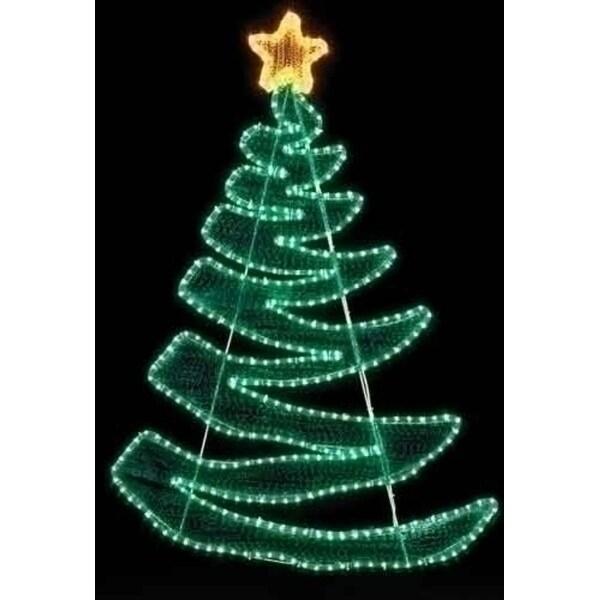 "48"" Green Zig Zag Rope Light Christmas Tree Outdoor Decoration - multi"