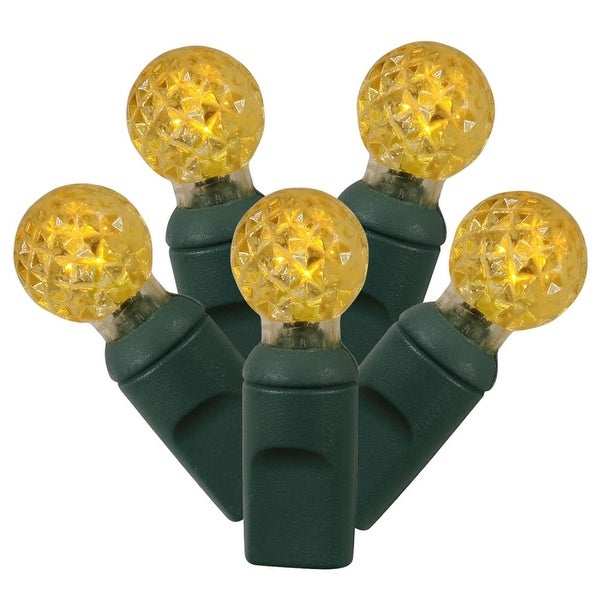 """Set of 100 Yellow LED G12 Berry Christmas Lights 4"""" Spacing - Green Wire"""
