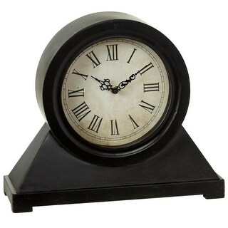 """Set of 2 Black and Gold Colored Accent Round Mantel Clocks 14.75"""""""