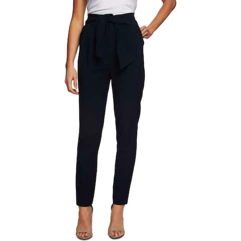 CeCe Womens Dress Pants Blue Size 14 Paperbag Belted Slim Ankle Pleated
