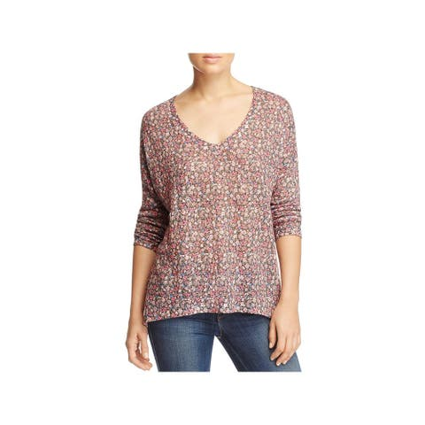 Nally & Millie Womens Tunic Sweater Hi-Low Floral Print