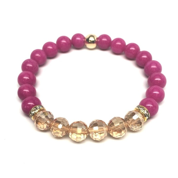 Fuchsia Jade & Champagne Crystal 'Glow' stretch bracelet 14k Over Sterling Silver