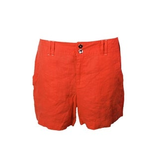 Inc International Concepts Cosmic Orange Linen Curvy-Fit Shorts
