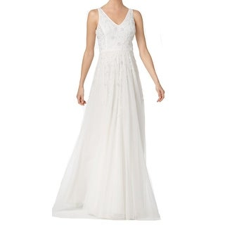Adrianna Papell NEW White Womens Size 16 Embellished V-Neck Gown Dress
