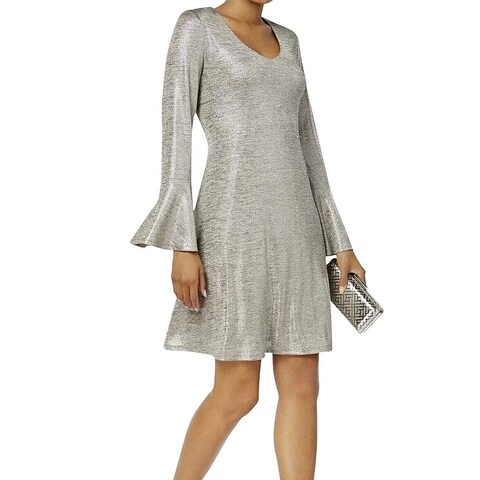 Connected Apparel Taupe Silver Women's Size 14 Metallic Shift Dress