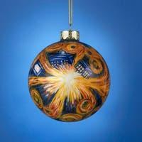 "Doctor Who Tardis Inside Starry Night Glass Ball Christmas Ornament 4"" (100mm) - BLue"