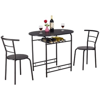 Costway 3 PCS Dining Set Table and 2 Chairs Home Kitchen Breakfast Bistro Pub Furniture  sc 1 st  Overstock.com & Size 3-Piece Sets Kitchen \u0026 Dining Room Sets For Less | Overstock.com