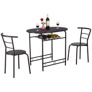 Costway 3 PCS Dining Set Table and 2 Chairs Home Kitchen Breakfast Bistro Pub Furniture - Black