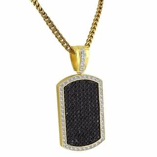 "Custom Dog Tag Pendant Black Lab Diamonds 14k Gold Tone 36"" Franco Chain"