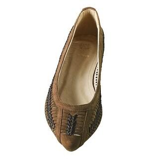 Women's Basketweave Flats - Slip-in Casual Shoes