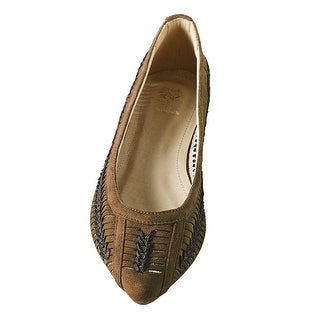 Women's Basketweave Flats - Slip-in Casual Shoes