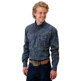 Roper Western Shirt Mens L/S Button Paisley Purp 03-001-0325-0150 PU