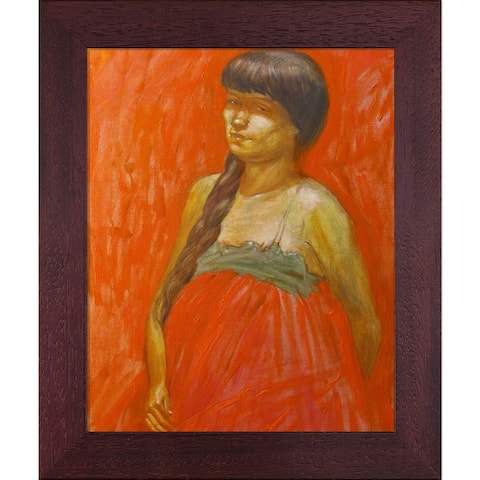 """ArtistBe Lady in Red Waiting with Open Grain Mahogany, 10.5"""" x 12.5"""""""