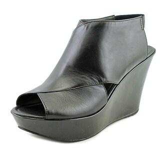 Kenneth Cole Reaction Sole Safe Women Open Toe Leather Wedge Heel