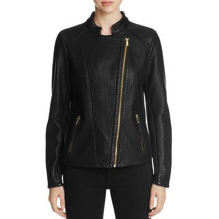Calvin Klein Womens Motorcycle Jacket Textured Long Sleeves