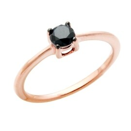 Fabulous 0.50 Carat Round Brilliant Cut Genuine Real Black Diamond Solitaire Ring