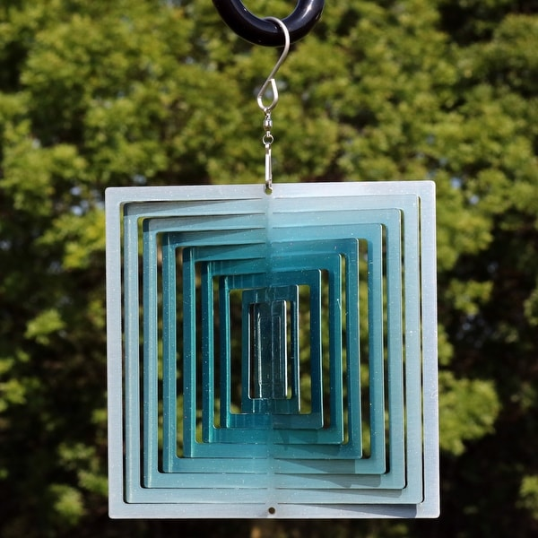 Sunnydaze 6-Inch 3D Reflective Square Wind Spinner with Hook - Multiple Colors