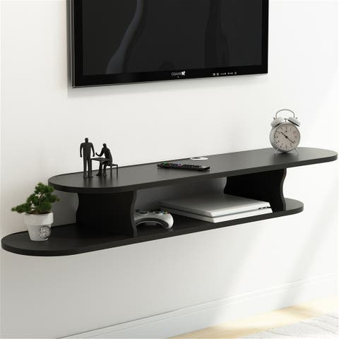 2 Tier Wall Mounted Media Console Floating TV Shelf TV Stand