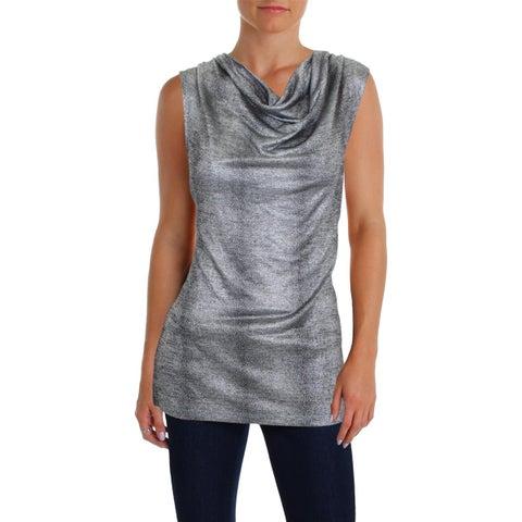Kasper Womens Pullover Top Cowl Neck Shell Print - M
