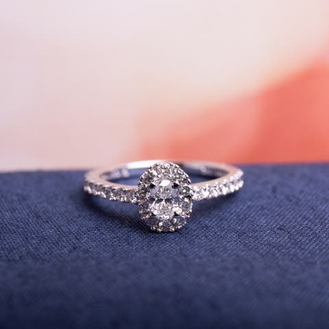 Miadora 14k White Gold 1ct TDW Certified Oval Halo Diamond Engagement Ring (IGL)