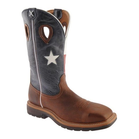 Twisted X Boots Men's MLCS007 Lite Weight Work Boot Safety Toe Brown/Texas Flag Leather