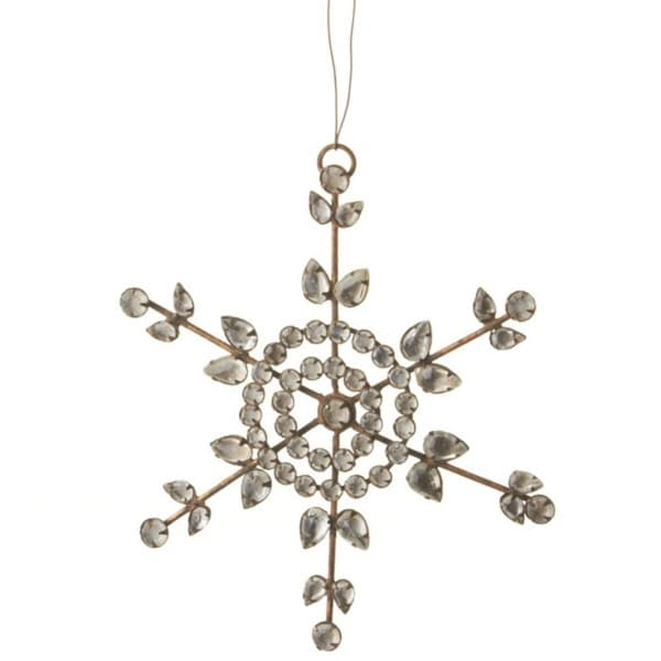 "6"" Country Rustic Clear Jeweled Snowflake Christmas Ornament"