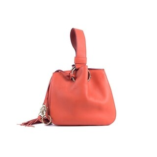 Cavalli Small Burnt-Orange Leather Tassel Wristlet Bucket Bag - S