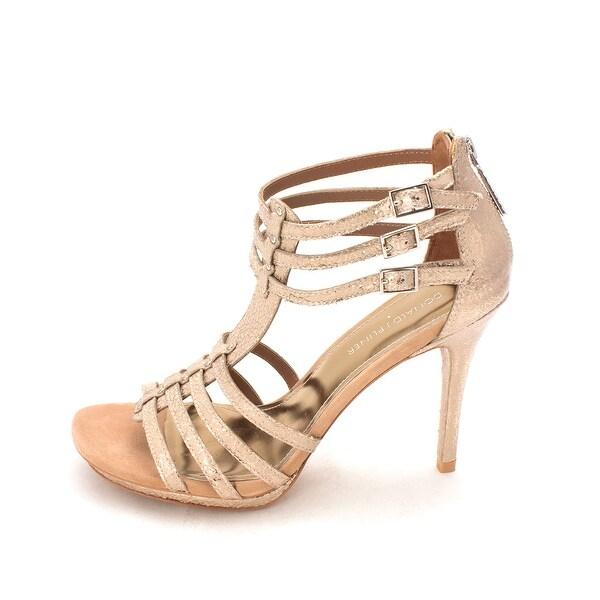 Donald J Pliner Women's Madi Open Toe Ankle Strap Pump, Gold, Size 8.0