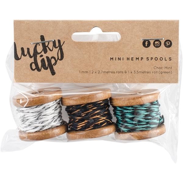 Lucky Dip Mini Spool Hemp Cord 1.0Mm 3/Pkg-Choc-Mint, (2) 2.7M & (1) 3.5M