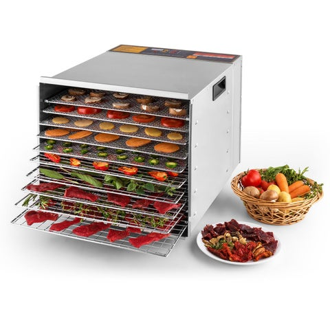 Della Commercial 1200W 10-Tray Food Dehydrator Nut Durable Fruit Sausage Jerky Dryer, Stainless Steel