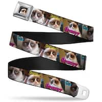 Grumpy Cat Face Full Color Black Original Grumpy Cat Poses Webbing Seatbelt Seatbelt Belt