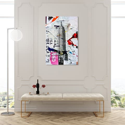 Oliver Gal 'Empire 2' Cities and Skylines Wall Art Canvas Print United States Cities - Gray, White