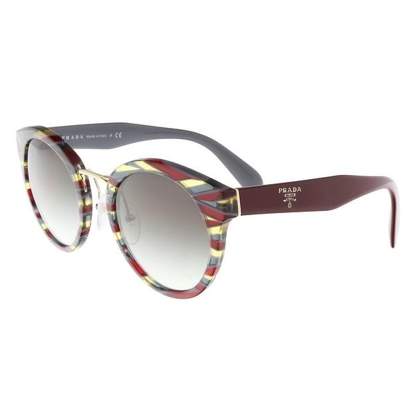 977609f375496 Prada PR 05TS VAP0A7 Sheaves Bordeaux Grey Round Sunglasses - 53-23-140