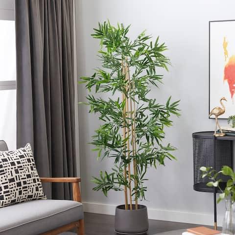 "Artificial Bamboo Plants Indoor 77"" Green - 27X30X77"