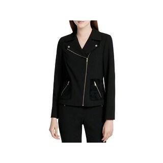 Calvin Klein Womens Motorcycle Jacket Mized Media Asymetric Zipper