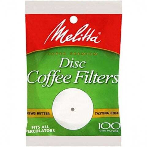 """Melitta 628354 Disc Coffee Filters, Paper White, 3.5"""", 100-Pack"""