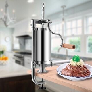 Costway 1.5L Stainless Steel Vertical Sausage Stuffer Maker Meat Filler Commercial - Sliver