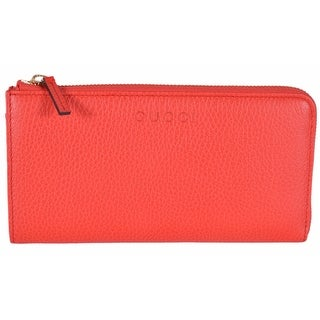 Gucci Women's 332747 Sporting Red Textured Leather Zip Around Wallet