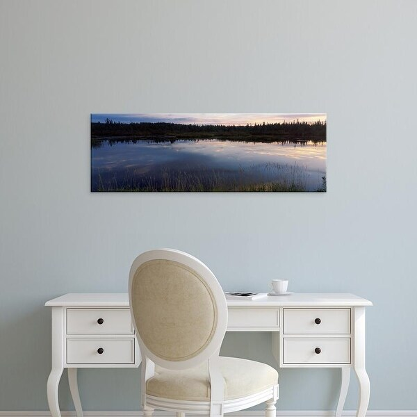 Easy Art Prints Panoramic Images's 'Lake at dusk, Wisconsin, USA' Premium Canvas Art