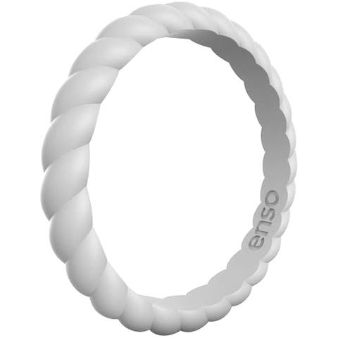 Enso Rings Braided Stackables Series Silicone Ring - Misty Grey