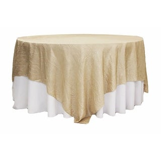 "Crushed Taffeta 90""x90"" Square Table Overlay - Champagne"