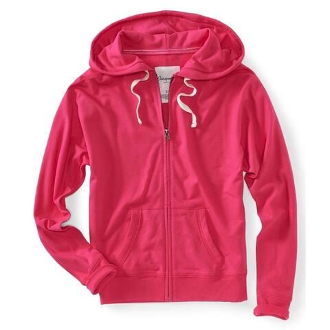 Aeropostale Womens Solid Print Zip Up Hoodie Sweatshirt