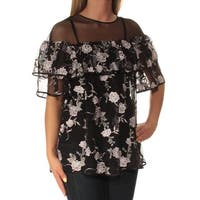 ALFANI Womens Black Embroidered  W/ Cami Short Sleeve Crew Neck Top  Size: XS